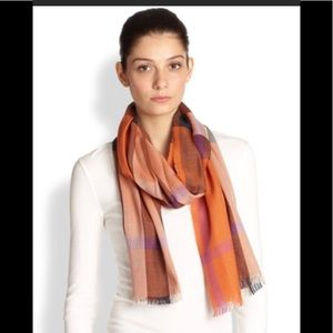 Burberry Check silk cashmere scarf vibrant orange